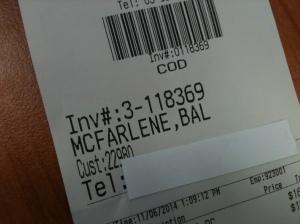 Receipt with name Bal McFarlene
